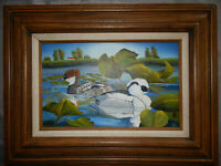SMEW DUCKS original oil on canvas painting artist signed framed birds 10x16 inch