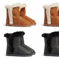 Womens Girls Kids Faux Fur Winter Warm Flat Snugg Ankle Boots Size 13 1 2 3 4 5