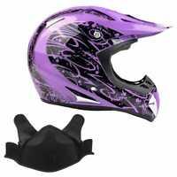 Snowmobile Helmet Snocross Purple Splatter w/ Breathbox DOT Adult Snow Open Face