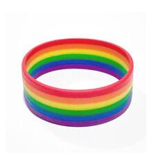 Silicone Rainbow Pride Bracelet Mutilayered Rubber Gay Lesbian LGBT Wristband
