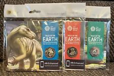 Royal Mint Tales Of The Earth Colour 50p Coin Dinosauria Collection X 3 + Holder