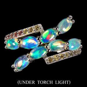 Unheated Oval Fire Opal 5x3mm Sapphire Diamond Cut 925 Sterling Silver Ring Sz 7