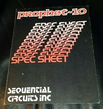 Sequential Circuits Prophet 10 Synthesizer brochure, 4 page, vintage