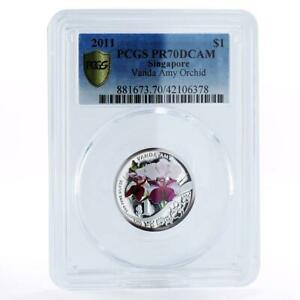 Singapore 1 dollar Vanda Amy Orchid PR70 PCGS colored proof silver coin 2011