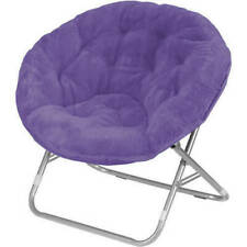 Portable Mainstays Faux-Fur Folding Chair Round Saucer *NEW*