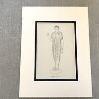 1900 Antico Stampa Storico Costume Antico Greco High Priestess Abito Moda