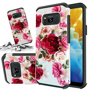 For Samsung Galaxy S8 Plus Case, Red Floral Rubber Durable Dual Layer Cover