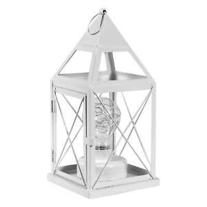"""Home District Decorative Lantern Metal Cage Lamp Cordless with LED Bulb, 10 1/4"""""""
