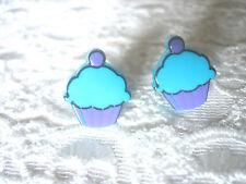 PURPLE & BLUE CUPCAKE CUP CAKE STUD EARRINGS . ROCKABILLY / POP CULTURE / KITSCH