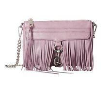 NWT Rebecca Minkoff FRINGE Mini MAC Leather Crossbody Bag LAVENDER Purple $200+