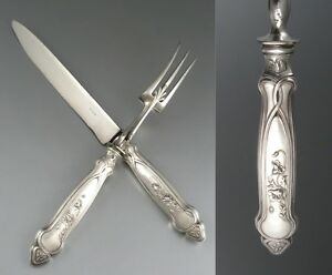 Antique French Art Nouveau Sterling Silver Carving Set, Fork and Knife, Paris