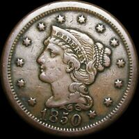 1850 Braided Hair Large Cent Penny ---- Stunning Type Coin    ----  #K689