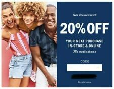 Old Navy 20% off in-store or online order coupon *read description carefully!*