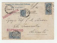 STORIA POSTALE 1928 REGNO L. 1,25 X4 SU RACCOMANDATA ROMA 17/8 Z/1964