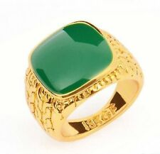 Fashion 18k Gold filled green gemstone unisex ring size 8 ! Gift Jewelry & Love