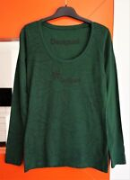 Desigual #49T2450 Long Sleeve Round Neck Green Cotton Top Shirt size M