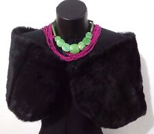 Black Faux Fur Wrap Shrug Shawl Bridal Wedding SECOND by Lucy's Envy W109