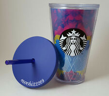 Starbucks 2016 BLUE PURPLE TYE DYE Acrylic Cold Cup Tumbler Mug 16oz