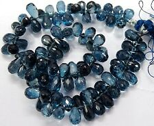 "Full 8"" Strand Fine Quality London BLUE TOPAZ Gemstone Faceted DROP Briolette"