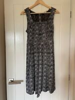 Fat Face Dress UK Size 14 Womens Ladies Black White Print Pattern Waist Tie