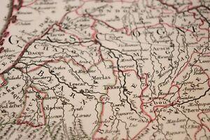 1762 Map Carte géographie Atlas France Nolin Vallet Guyenne Béarn Navarre