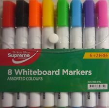 Pack Of 8 Large White Board Whiteboard Dry Wipe Colour Markers (8 Coloured Pens)