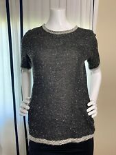CAbi 542 Coco Shell Tweed Knit Sweater Top Small Black Gray
