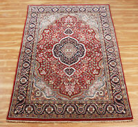Handmade Wool 4x6 Rugs Medallion Area Rug Red Blue 'Sukhara' Hand Knotted Carpet