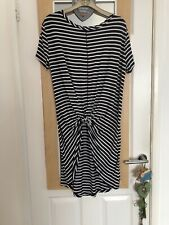 Navy/White Longline T-Shirt Top With Knot-Front By George. Sz 8