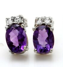 2.27 Carat Natural Amethyst & Diamond in 14K Solid White Gold Stud Earrings