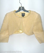 BEVERLY & MONIKA MOHAIR PALE YELLOW SHRUG WITH JEWEL COLLAR SIZE 2
