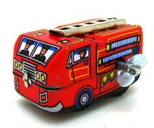 MS261 Fire Truck Ladder Firefighting Retro Clockwork Wind Up Tin Toy Collectible