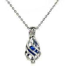 """K748 Silver Twist Bead Pearl Cage Locket Necklace Women Stainless Chain 18"""""""