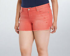 New Plus Size Torrid Skinny Short Shorts Red Wash With Destruction in Size 22