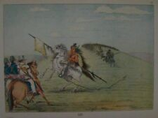 GEORGE CATLIN - 1926 - PLATE 96- OSAGE TRIBE RIDES UP TO COL. DODGE - GENUINE