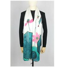 Pure Silk Long Scarf Head Neck Wrap Large Silk Shawl Hand Painted Lotus Bird