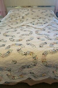 VTG White Arch Quilts Scalloped Multicolored Floral Patchwork Quilt Shams Full