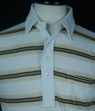 VTG 80's Men's PGA Golf White Striped 50/50 Pocket Polo Shirt Sz M EUC