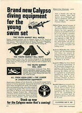 1968 PAPER AD Aqua Lung Calypso Diving Equipment Fleetwing Racer Snow Sled
