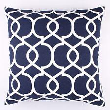 "Navy Blue Lattice Quatrefoil Cushion Cover 18x18"" 45x45cm By DecorUnited"