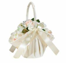 Lillian Rose Ivory Large Satin Flower Girl Basket Wedding