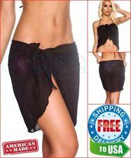 Coqueta Black Bathing Suit Sarong Short Chiffon Wrap Pareo Cover up Canga Women