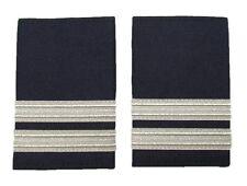 2 Bar Pilot Airline Merchant Marine Epaulettes White Silver on Navy Blue R470