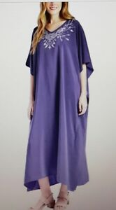 Ladies polyester with diamonate long kaftan/holiday/beach dresss 10-32
