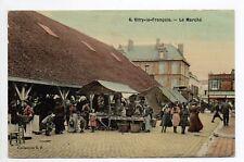VITRY LE FRANCOIS Marne CPA 51 superbe carte toilée couleur du MARCHE