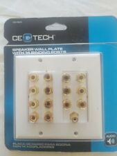 CE Tech speaker wall plate with 12 binding posts