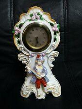"""Figurine Clock Porcelain Mandolin Boy Floral 8 1/2"""" high - Works - Germany"""