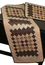 """TRIP AROUND THE WORLD MULTICOLORED NO TEA DYE QUILTED TABLE RUNNER 16"""" x 50"""""""