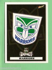 2001  NEW ZEALAND WARRIORS   RUGBY LEAGUE EMBLEM  & PLAYER LIST CARD
