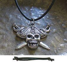 Piratenschmuck Skull Halskette Leder schwarz Pirat Kette Totenkopf Herren Damen